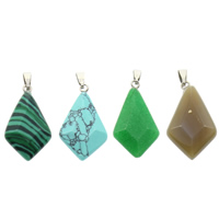 Gemstone Pendants Jewelry with brass bail natural different materials for choice   faceted 15.50x28x6mm Hole:Approx 3x6mm