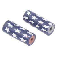 Бусины из полимерной глины, полимерный клей, Столбик, Связанный вручную, с рисунками звезды, разноцветный, 7x18mm, отверстие:Приблизительно 2mm, 10ПК/сумка, продается сумка