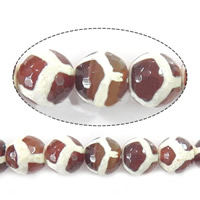 Natural Tibetan Agate Dzi Beads, Round, different size for choice & faceted & two tone, Sold Per Approx 14.5 Inch Strand