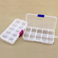Sieraden Kralen Container, Plastic, Rechthoek, transparant & 10 cellen, meer kleuren voor de keuze, 128x65x22mm, Verkocht door PC