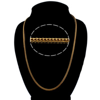 Men Necklace, Brass, 18K gold plated, wheat chain, nickel, lead & cadmium free, 3mm, Sold Per Approx 22.5 Inch Strand
