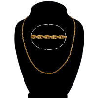 Men Necklace, Brass, 18K gold plated, rope chain, nickel, lead & cadmium free, 3mm, Sold Per Approx 20.5 Inch Strand