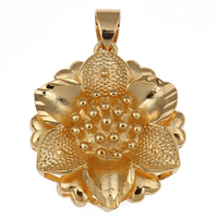 Brass Jewelry Pendants, Flower, 18K gold plated, nickel, lead & cadmium free, 24x26x8mm, Hole:Approx 5x7mm, Sold By PC