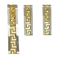 Fashion Stainless Steel Jewelry Sets, pendant & earring, plated, two tone & hollow & stardust, 8x44x8.5mm, 6x23x5mm, Hole:Approx 6x18mm, 5Sets/Lot, Sold By Lot