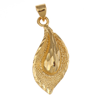 Brass Jewelry Pendants, Leaf, 18K gold plated, flower cut, nickel, lead & cadmium free, 12x28x4mm, Hole:Approx 3x4mm, Sold By PC
