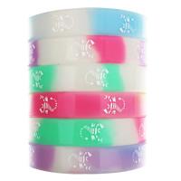 Силиконовые браслеты, Силикон, принт, блестящий в ночи, разноцветный, 12mm, длина:Приблизительно 6.5 дюймовый, 10пряди/сумка, продается сумка