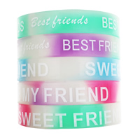 Silicone Bracelets word best friend printing luminated mixed colors 12mm Approx 6.5 Inch Sold By Bag
