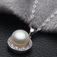 Freshwater Pearl Pendants with Brass Button natural micro pave cubic zirconia white 9-10mm Hole:Approx 2-7mm