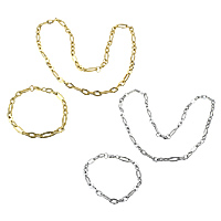 Refine Stainless Steel Jewelry Sets, bracelet & necklace, plated, figaro chain, more colors for choice, 17x6.5x1.3mm, 11x6.5x1.3mm, 17x6.5x1.3mm, 11x6.5x1.3mm, Length:Approx 22 Inch, Approx 9 Inch, 10Sets/Lot, Sold By Lot