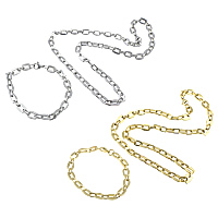 Refine Stainless Steel Jewelry Sets, bracelet & necklace, plated, rectangle chain, more colors for choice, 10x8x1.5mm, 9x6x1mm, 10x8x1.5mm, 9x6x1mm, Length:Approx 21 Inch, Approx 8.5 Inch, Sold By Lot