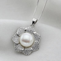 Freshwater Pearl Pendants, with Brass, Flower, natural, micro pave cubic zirconia, white, 9-10mm, Hole:Approx 2-7mm, Sold By PC