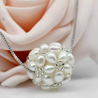 Ball Cluster Cultured Pearl Beads, Freshwater Pearl, with Glass Seed Beads, Round, natural, can be used as pendant or bead, white, 3-4mm, 20-24mm, Hole:Approx 2-7mm, Sold By PC