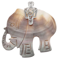 Natural Black Shell Pendants with zinc alloy bail Elephant platinum color plated 55x58x8mm Hole:Approx 5x8mm 5PCs/Bag
