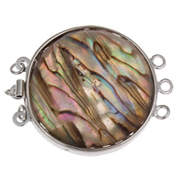 Shell Box Clasp, Abalone Shell, with Brass, Rondelle, 3-strand, 32x39x5mm, Hole:Approx 2mm, Sold By PC