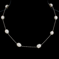 Freshwater Pearl Brass Necklace, with Brass, Oval, natural, white, 9-10mm, Sold Per 19.5 Inch Strand
