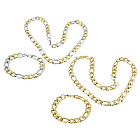 Refine Stainless Steel Jewelry Sets, bracelet & necklace, plated, figaro chain, more colors for choice, 22.5x11.5x3mm, 17x11.5x3mm, 22.5x11.5x3mm, 17x11.5x3mm, Length:Approx 24 Inch, Approx 8.5 Inch, 5Sets/Lot, Sold By Lot