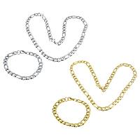Ogranicz ze stali nierdzewnej Zestawy biżuterii, bransoletka & naszyjnik, Stal nierdzewna, Powlekane, łańcuch Figaro, dostępnych więcej kolorów, 17x8.5x2mm, 12x8.5x2.5mm, 17x8.5x2mm, 12x8.5x2.5mm, długość:około 22 cal, około 8.5 cal, 10zestawy/wiele, sprzedane przez wiele