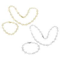 Ogranicz ze stali nierdzewnej Zestawy biżuterii, bransoletka & naszyjnik, Stal nierdzewna, Czterolistna Koniczyna, Powlekane, pasek łańcuch, dostępnych więcej kolorów, 12x8x0.3mm, 12x8x0.3mm, długość:około 18 cal, około 8 cal, sprzedane przez wiele