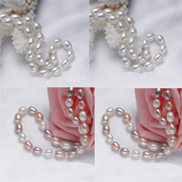 Natural Freshwater Pearl Necklace brass bayonet clasp Rice 7mm Sold Per Approx 18 Inch Strand