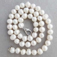 Natural Freshwater Pearl Necklace brass lobster clasp Potato white 9-10mm Sold Per Approx 18 Inch Strand