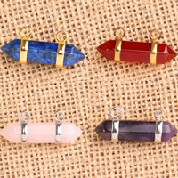 Gemstone Pendants Jewelry with Zinc Alloy pendulum plated different materials for choice 10x32mm Hole:Approx 2-5mm 5PCs/Bag