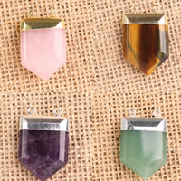 Gemstone Connector, with Zinc Alloy, plated, different materials for choice & 1/1 loop, 33x22mm, Hole:Approx 2-5mm, 10PCs/Bag, Sold By Bag