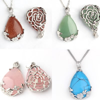 Gemstone Pendants Jewelry with Zinc Alloy Teardrop platinum color plated different materials for choice 24x35mm Hole:Approx 2-5mm