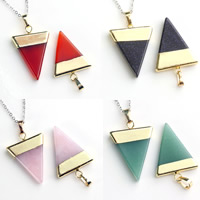 Gemstone Pendants Jewelry with brass bail Triangle gold color plated different materials for choice 25x31mm Hole:Approx 2-5mm