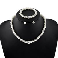 Glass Pearl Jewelry Set, bracelet & earring & necklace, with Clay Pave & Brass, Round, natural, with rhinestone, white, 8mm, Length:Approx 17.5 Inch, Approx 7.5 Inch, Sold By Set
