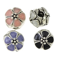Zinc Alloy European Clip, Brass, Flower, antique silver color plated, enamel, more colors for choice, nickel, lead & cadmium free, 11x11x12mm, Hole:Approx 3x3.5mm, 100PCs/Lot, Sold By Lot