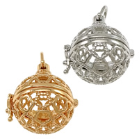 Pregnant Ball Locket Pendant, Brass, plated, high quality plating and never fade & hollow, more colors for choice, nickel, lead & cadmium free, 28.50x31x24mm, Hole:Approx 7x7.5mm, Inner Diameter:Approx 20mm, 30PCs/Lot, Sold By Lot
