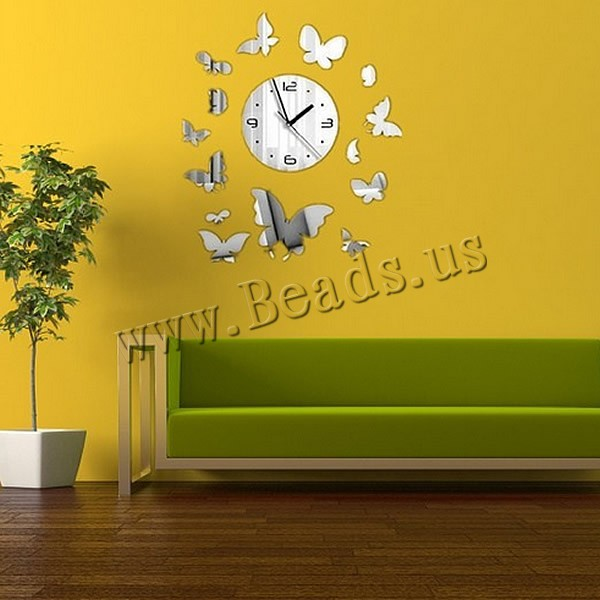 Reloj pared poliestireno mariposa efecto espejo - Reloj pared adhesivo ...