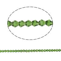 Bicone Crystal Beads, Kristal, gefacetteerde, Peridot, 6x6mm, Gat:Ca 1mm, Lengte:Ca 10.5 inch, 10strengen/Bag, Ca 50pC's/Strand, Verkocht door Bag