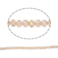Rondelle Crystal Beads, imitation CRYSTALLIZED™ element crystal, Silver Champagne, 6x8mm, Hole:Approx 1mm, Length:Approx 15 Inch, 10Strands/Bag, Approx 72PCs/Strand, Sold By Bag