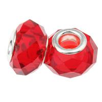 European kristalli helmiä, Rondelli, hopeaa Kaksoisjohdin ilman peikko, rubiini, 14x9mm, Reikä:N. 5mm, Pituus:5 , 20PC/laukku, Myymät laukku