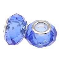 European kristalli helmiä, Rondelli, hopeaa Kaksoisjohdin ilman peikko, Lt Sapphire, 14x9mm, Reikä:N. 5mm, 20PC/laukku, Myymät laukku