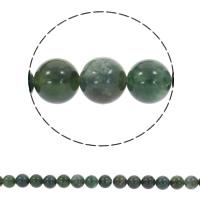 Luonnollinen Moss akaatti helmet, Pyöreä, synteettinen, erikokoisia valinnalle, Reikä:N. 1mm, Myyty Per N. 14.5 tuuma Strand