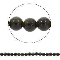 Musta Obsidian Helmi, Pyöreä, synteettinen, 6mm, Reikä:N. 1mm, N. 70PC/Strand, Myyty Per N. 15.5 tuuma Strand