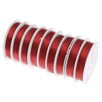 Copper Wire, electrophoresis, red, nickel, lead & cadmium free, 0.5mm, Length:Approx 90 m, 10PCs/Bag, Sold By Bag
