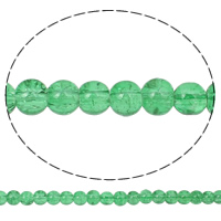 الخرز فرقعة الزجاج, زجاج, جولة, أخضر فاتح, 6mm, حفرة:تقريبا 1.5mm, طول:تقريبا 31.5 بوصة, 10جدائل/حقيبة, تباع بواسطة حقيبة