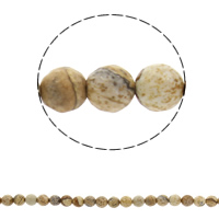 Natural Picture Jasper Beads, Round, different size for choice & faceted, Hole:Approx 1mm, Sold Per Approx 14.5 Inch Strand