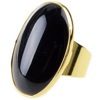 Agate Finger Ring Brass with Black Agate Flat Oval gold color plated nickel lead   cadmium free 29.8mm US Ring Size:6 10PCs/Bag