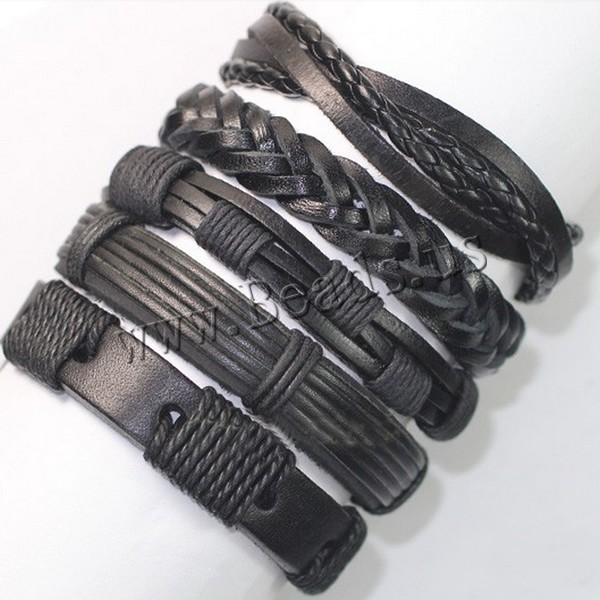 Buy PU Leather Cord Bracelets Waxed Nylon Cord adjustable & mixed nickel lead & cadmium free 13-15mm Length:Approx 7 Inch 5Strands/Lot Sold Lot