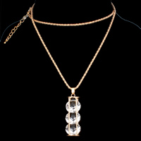 Iron Sweater Necklace, with Acrylic, with 5cm extender chain, gold color plated, lantern chain & faceted, nickel, lead & cadmium free, 15x46x15mm, Sold Per Approx 28 Inch Strand