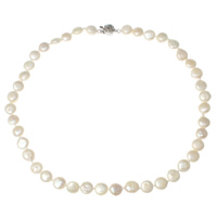 Natural Freshwater Pearl Necklace brass clasp Coin different length for choice   different styles for choice white 8-9mm