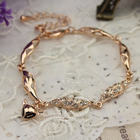 Zinc Alloy Bracelet, with 5cm extender chain, Fox, rose gold color plated, with rhinestone, nickel, lead & cadmium free, 155mm, Sold Per Approx 6 Inch Strand