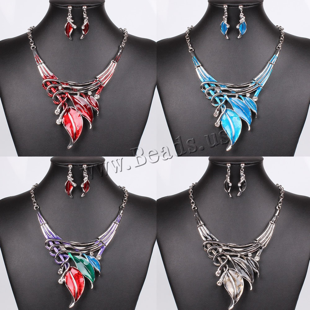 Buy Zinc Alloy Jewelry Sets earring & necklace iron chain iron earring hook 7cm extender chain Leaf platinum color plated enamel & rhinestone colors choice nickel lead & cadmium free 145mm 40mm Length:Approx 17.5 Inch Sold Set