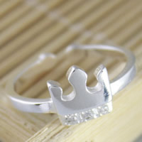 925 Sterling Silver Cuff Finger Ring Crown platinum plated with rhinestone 3-8mm US Ring Size:5