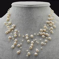 Natural Freshwater Pearl Necklace with Crystal Thread brass lobster clasp Potato white 4-6mm Sold Per Approx 16.5 Inch Strand