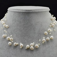 Natural Freshwater Pearl Necklace with Crystal Thread brass lobster clasp with 5cm extender chain Potato white 4mm 8-9mm Sold Per Approx 16.5 Inch Strand